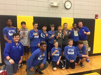 Middle school wrestling team places second in Foothills Conference Tournament