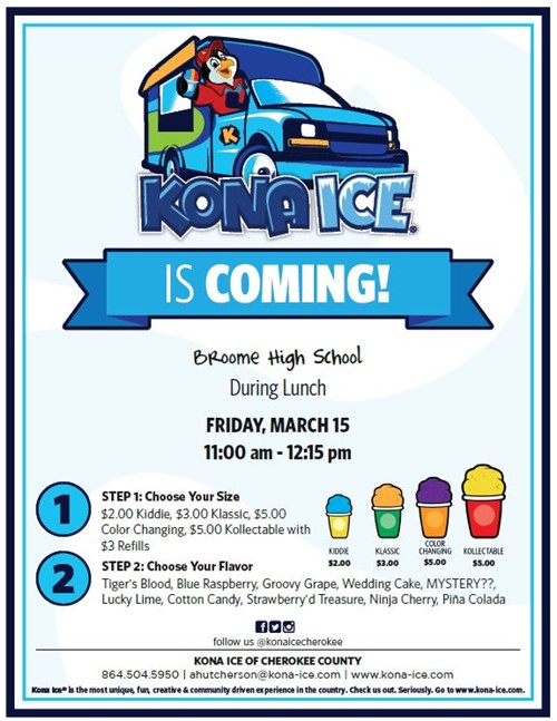 Kona Ice Treats for Sale on Friday During Lunch