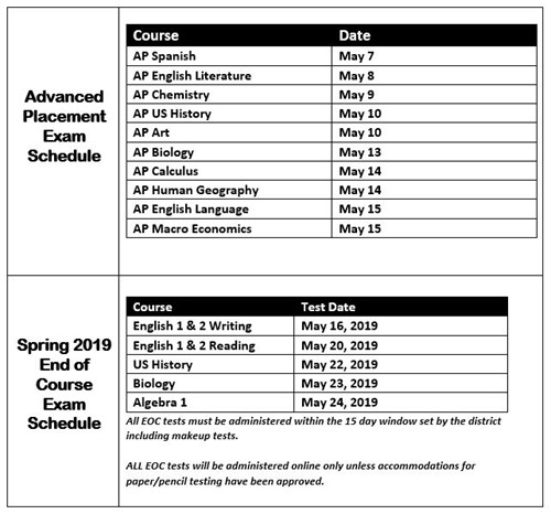AP and EOC Testing Schedule