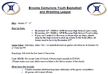 broome centurions youth basketball and wrestling league