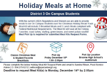 Holiday Meals for On-Campus Students