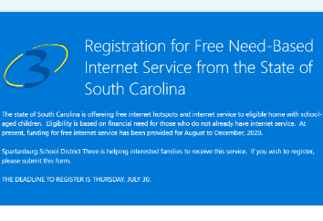State offering free Internet hot spots and Internet service