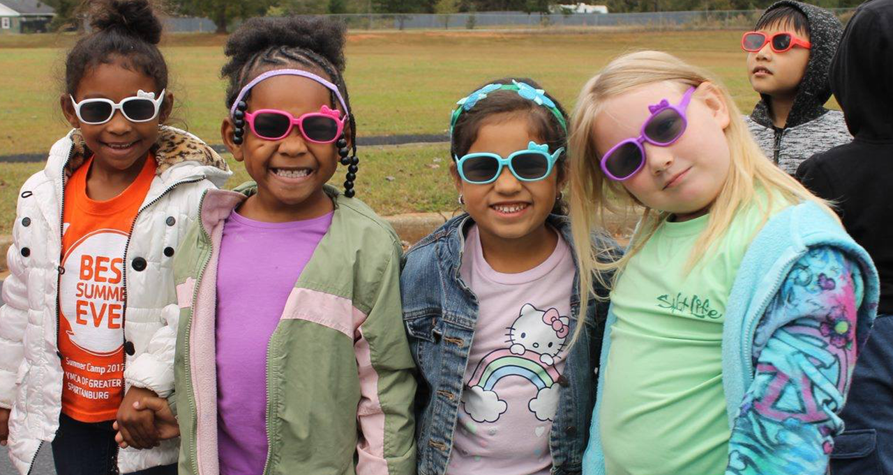 Students wearing sunglasses