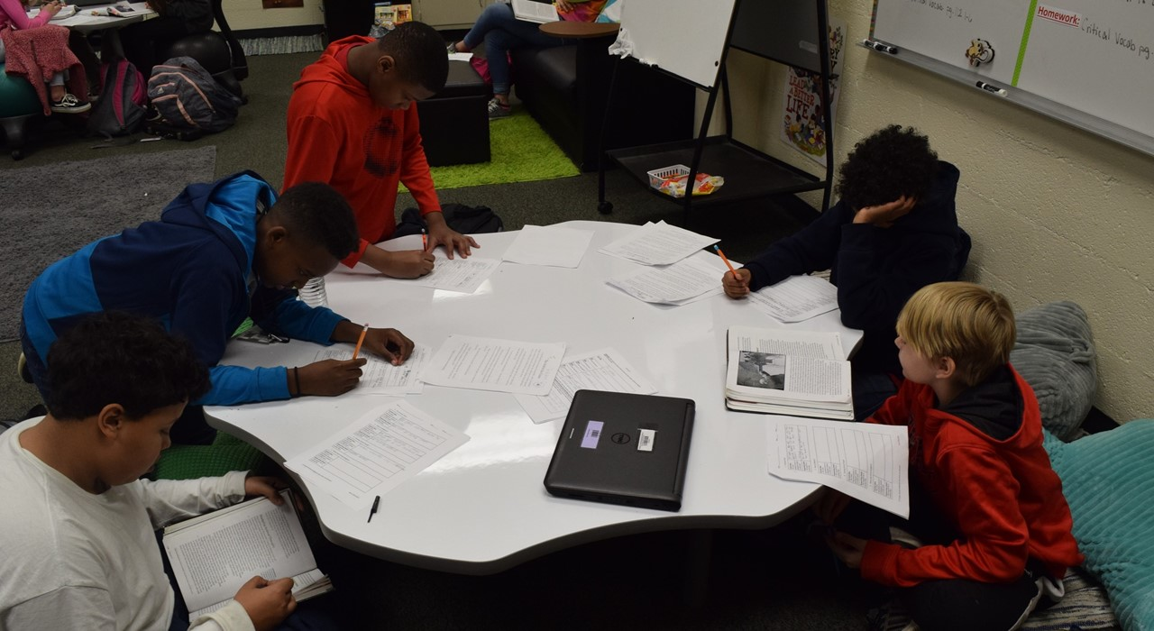 Boys working in groups.