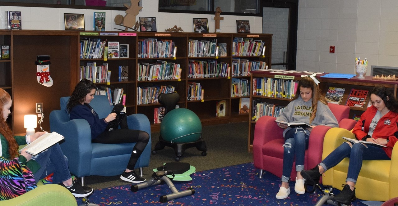 Students reading in library.