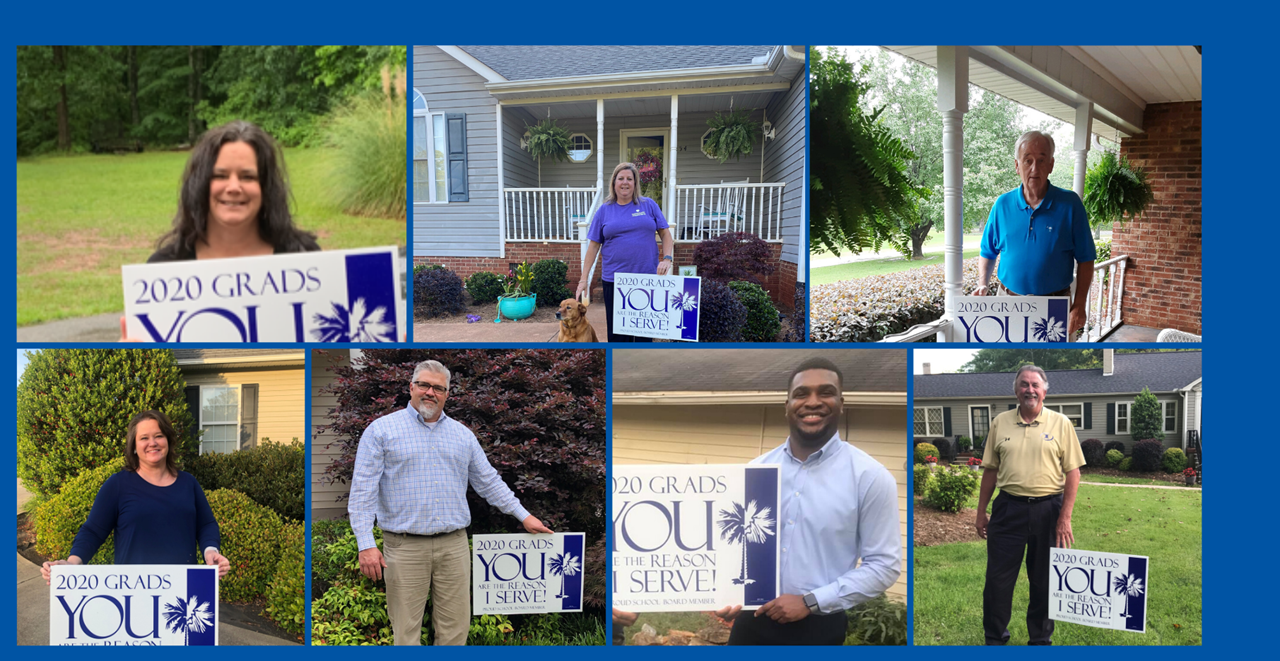 2020 Graduates,   Our board of trustees are so proud of you!  If you see this sign in a yard, know they're rooting for you and can't wait to celebrate your accomplishments at next week's graduation.  Conquer and Prevail!