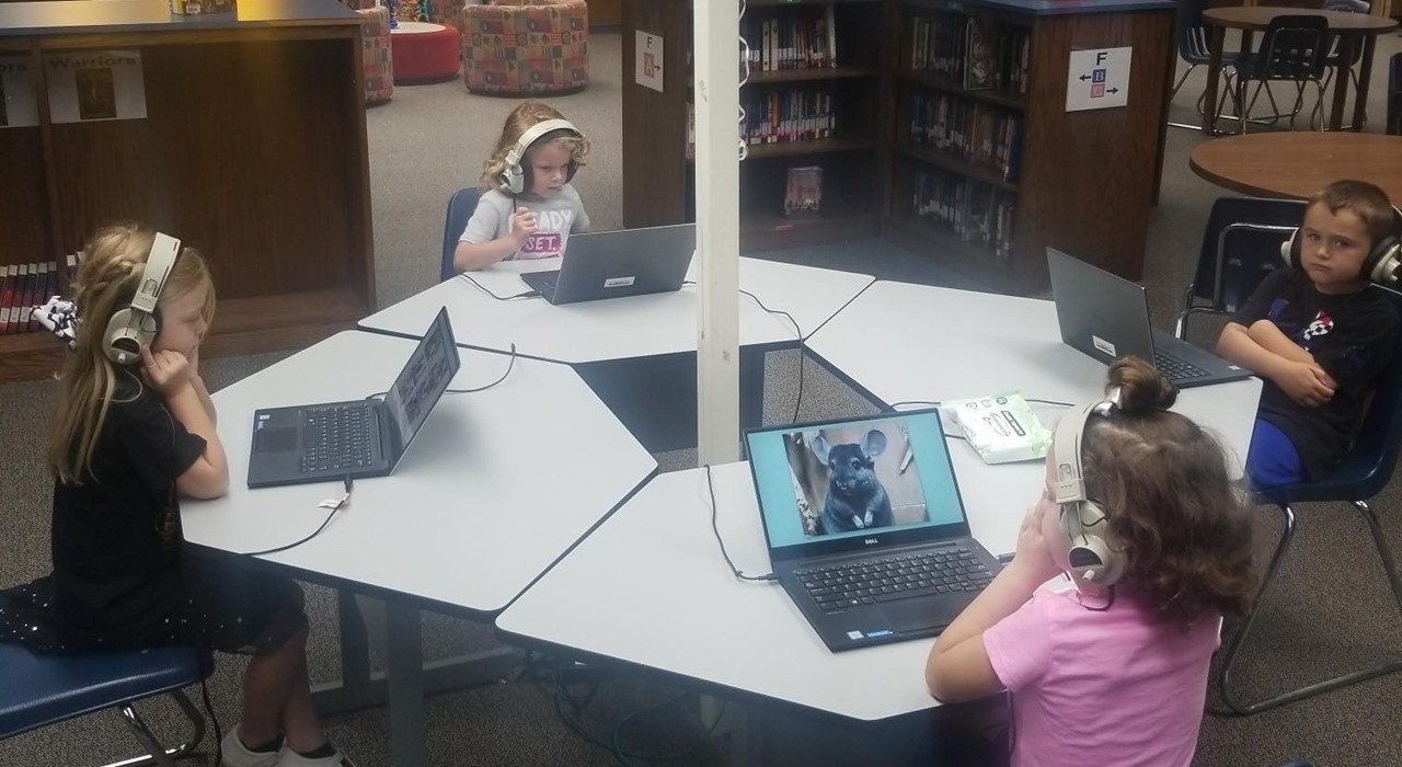 Students at audio book center.